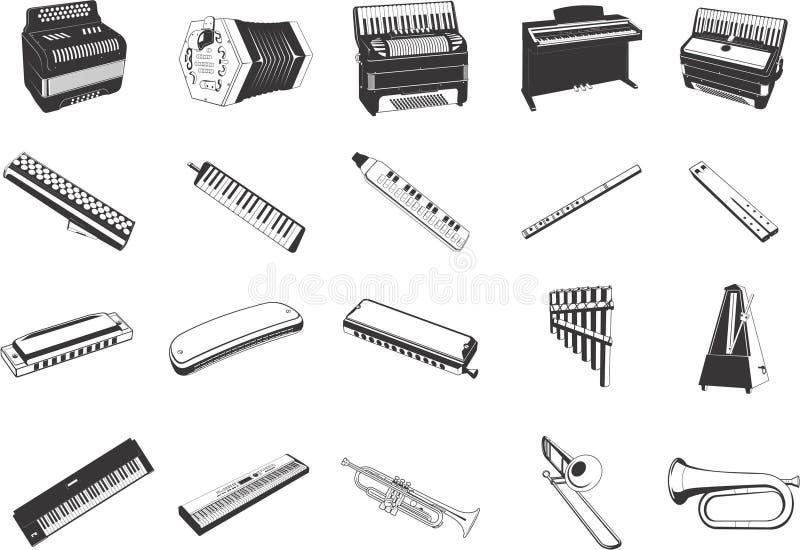 instrumenty muzykalni ikony ilustracja wektor