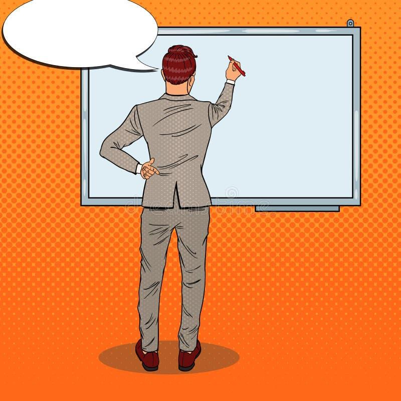 Instrutor Drawing do negócio no Whiteboard Ilustração do pop art ilustração royalty free
