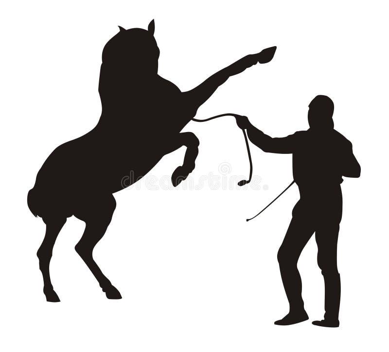Instrutor e cavalo ilustração royalty free