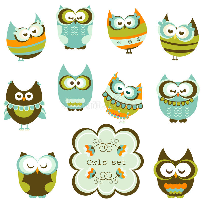 inställda owls royaltyfri illustrationer