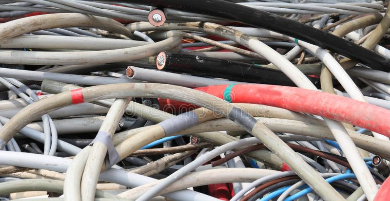 Insulated cables or wires. Background of insulated cables or wires in the recycling center royalty free stock image