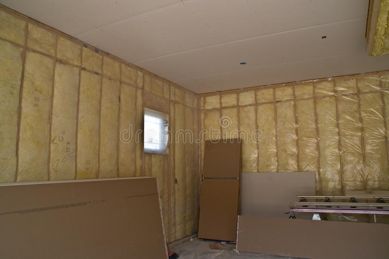 Insulated Garage. Fully insulated garage in new private residence still under construction stock photo