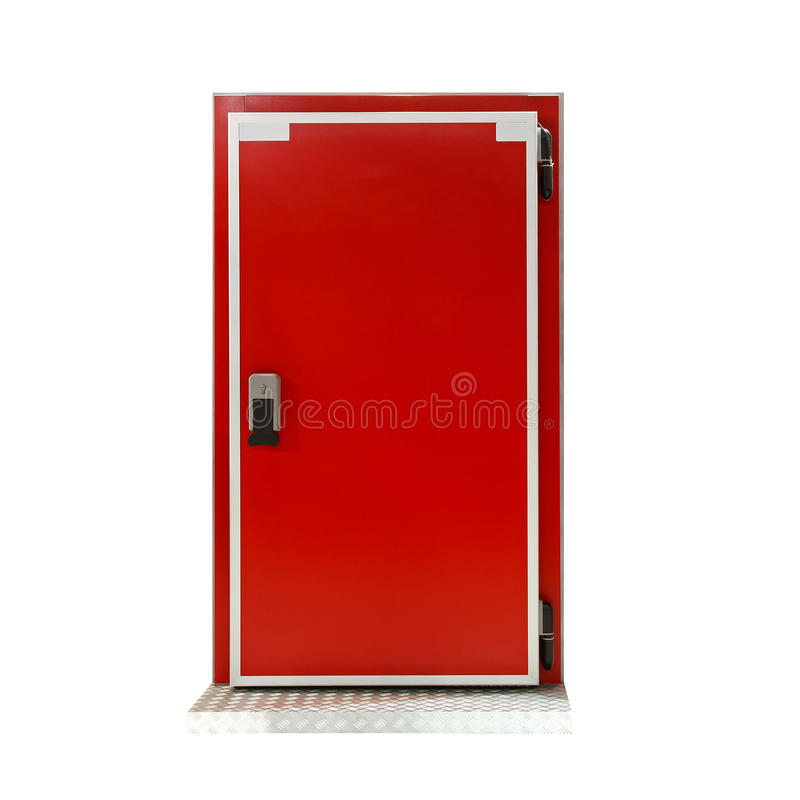 Insulated reefer door. Insulated red door at industrial refridgerator reefer stock photos
