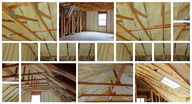 Insulation of attic with fiberglass cold barrier and insulation material photo collage. Insulation of attic with fiberglass cold barrier and insulation material royalty free stock photo