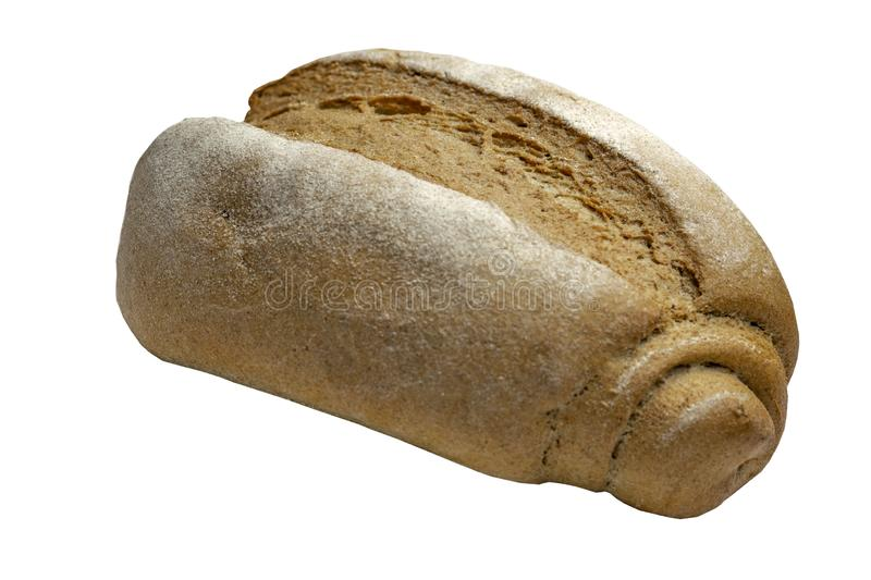 Insulation, design element fresh whole grain loaf isolated on white background royalty free stock photo