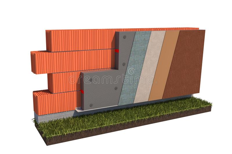Isolated brick wall grafit thermal insulation concept on white background 3d illustration stock photography