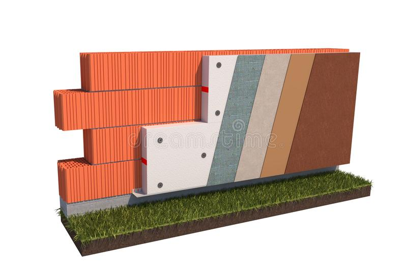 Isolated brick wall thermal insulation concept on white background 3d illustration royalty free stock image
