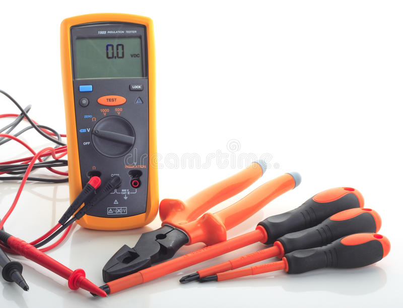Insulation tester with tools isolated white royalty free stock photo