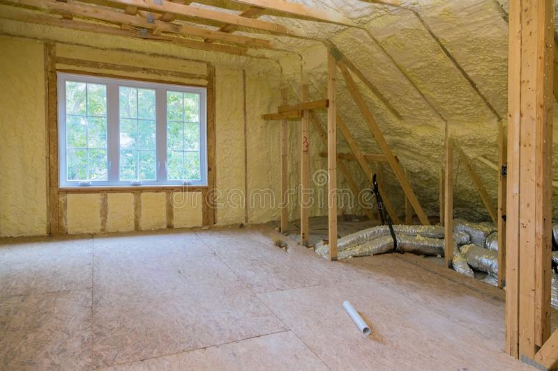 Insulation of thermal insulation attic with cold barrier and insulation material. Insulation of attic with thermal insulation cold barrier and insulation royalty free stock photo