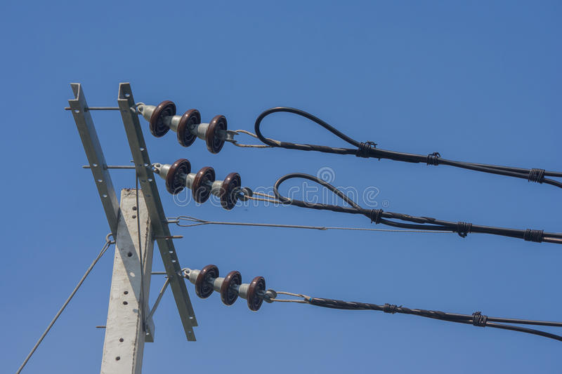 Insulators for high voltage. Insulators for high voltage, Thailand royalty free stock image