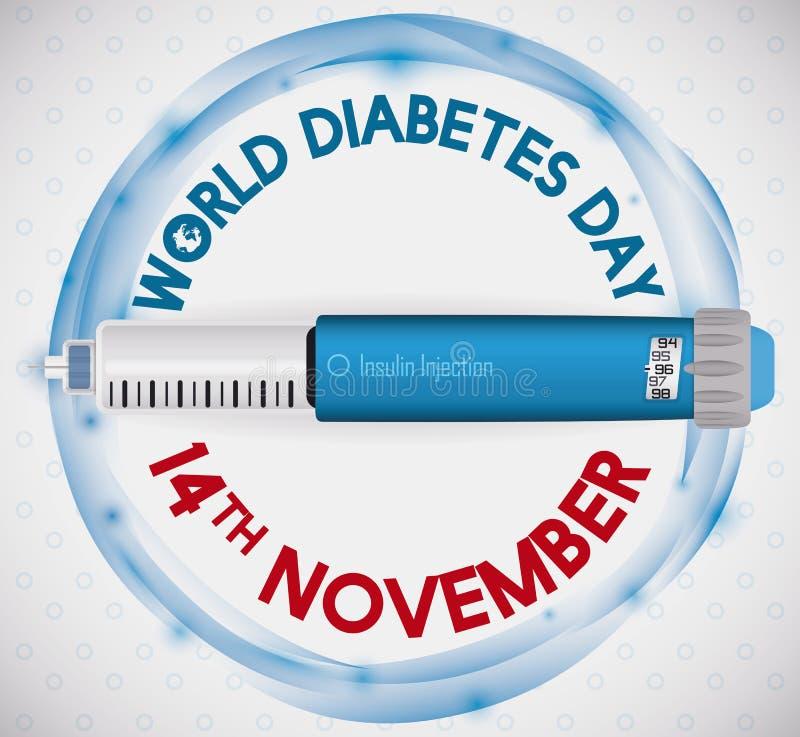 Insulin-Einspritzung über einem Gedenkdesign für Diabetes-Tag, Vektor-Illustration stock abbildung