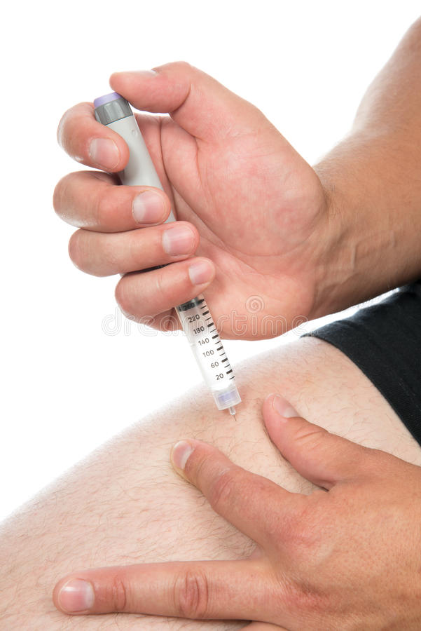 Download Insulin Injection Shot By Syringe Subcutaneous Leg Vaccination Stock Photo - Image: 32190410