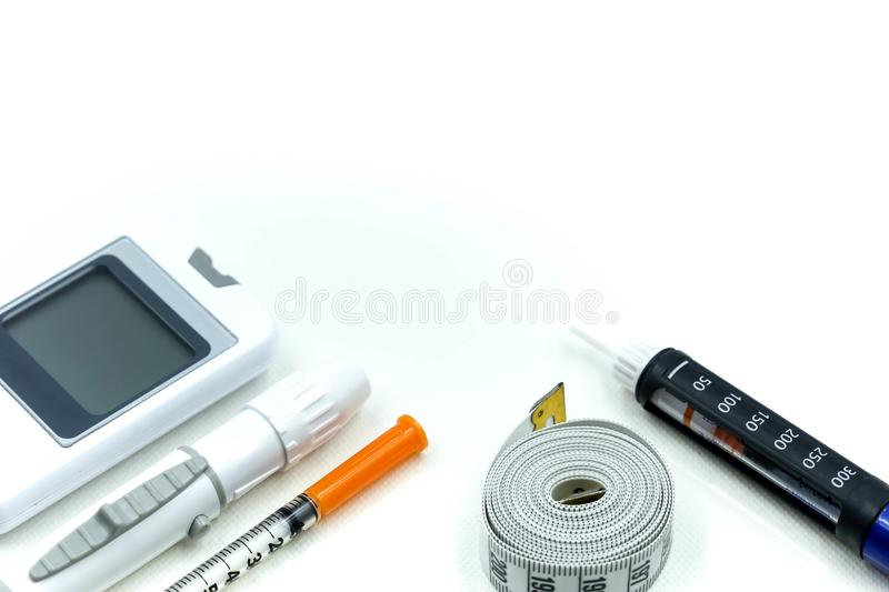 Insulin pen ,Diabetes equipment and glucose level blood test,Di royalty free stock image