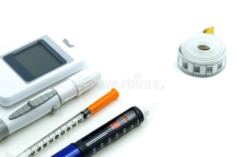 Insulin pen ,Diabetes equipment and glucose level blood test,Di royalty free stock photography