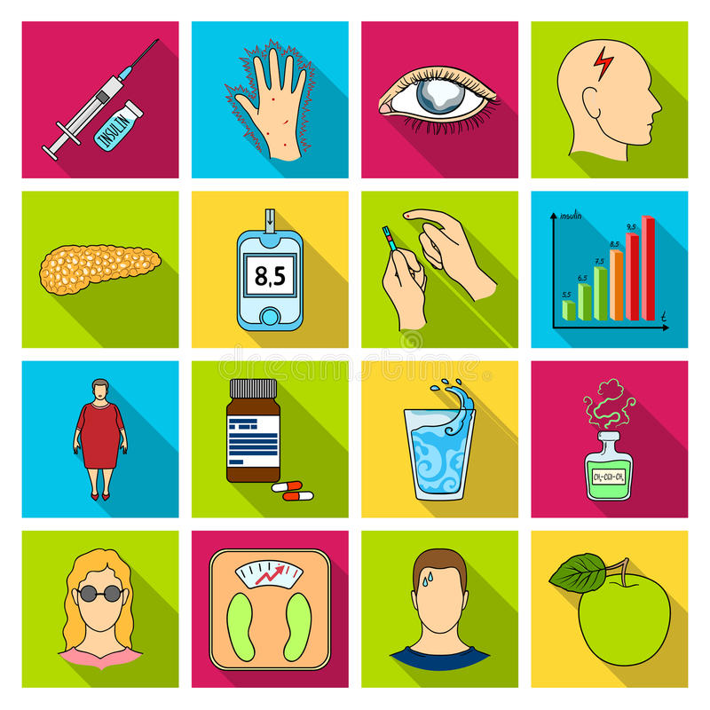 Insulin, sugar, level, analysis, diet and other attributes. Diabetes set collection icons in flat style vector symbol. Stock illustration royalty free illustration