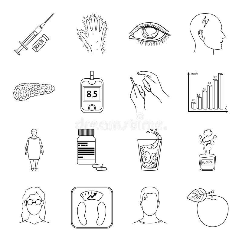Insuline, suiker, niveau, analyse, dieet en andere eigenschappen Pictogrammen van de diabetes de vastgestelde inzameling in het v royalty-vrije illustratie