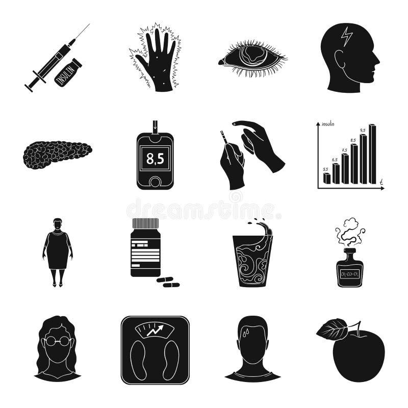Insuline, suiker, niveau, analyse, dieet en andere eigenschappen Pictogrammen van de diabetes de vastgestelde inzameling in zwart royalty-vrije illustratie