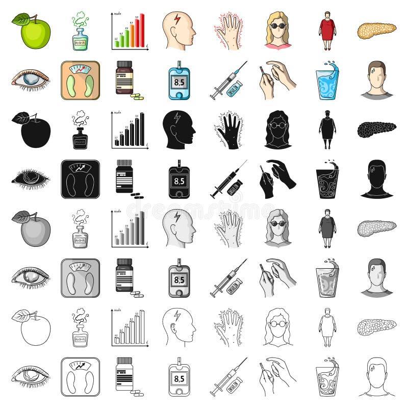 Insuline, suiker, niveau, analyse, dieet en andere eigenschappen Pictogrammen van de diabetes de vastgestelde inzameling in het v vector illustratie