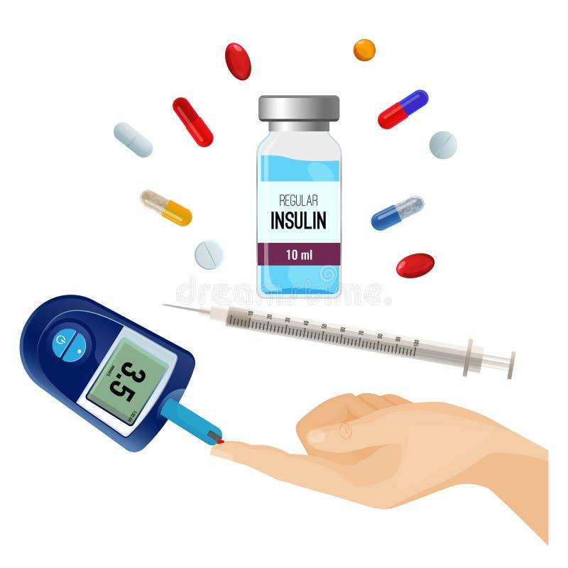 Insulinflaska, preventivpillerar för sockersjuka och apparat för socker stock illustrationer