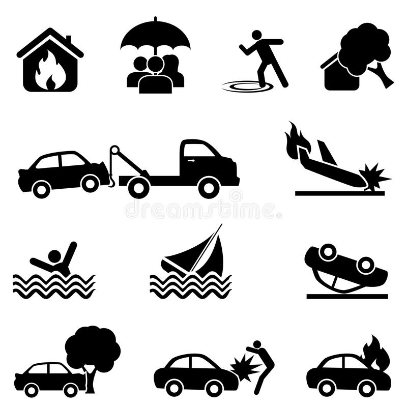 Insurance and accident icon set royalty free illustration