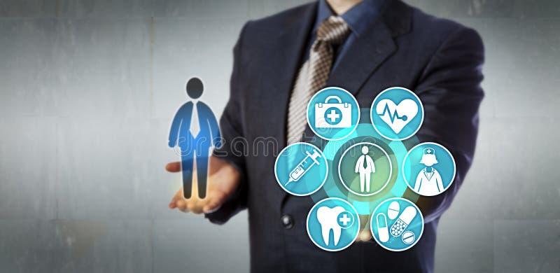 Insurance Administrator Presenting Monitoring App. Unrecognizable insurance administrator presenting virtual monitoring interface. Healthcare information royalty free stock image