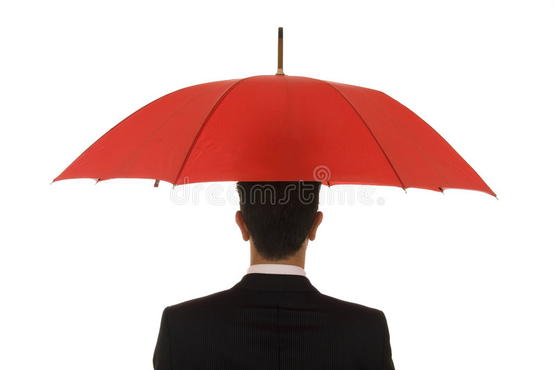 Insurance Agent. An insurance agent ready to protect you with his umbrella stock images