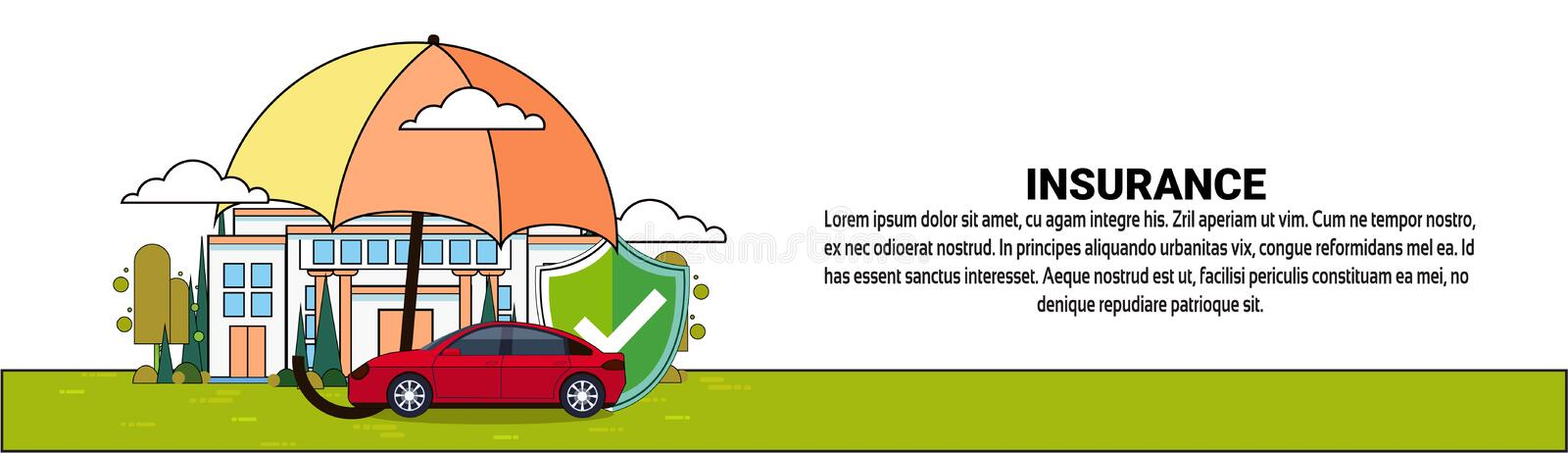 Insurance Banner With Home And Car Property Protection And Safety Service. Vector Illustration vector illustration