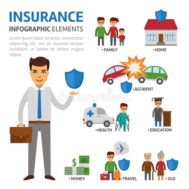 Insurance broker infographic elements, vector flat illustration on white background. Protection of people in difficult. Situations. Insurer with shield stock royalty free illustration