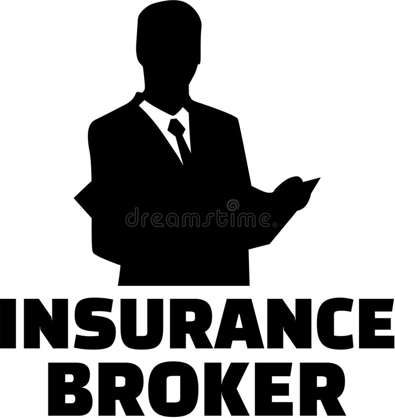 Insurance broker with man silhouette stock illustration