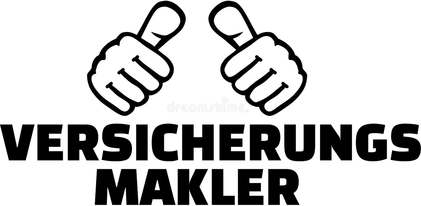 Insurance broker with thumbs. German T-Shirt design. stock illustration