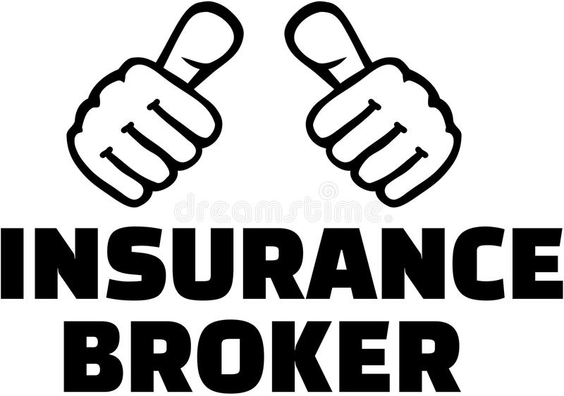Insurance broker with thumbs. T-Shirt design royalty free illustration