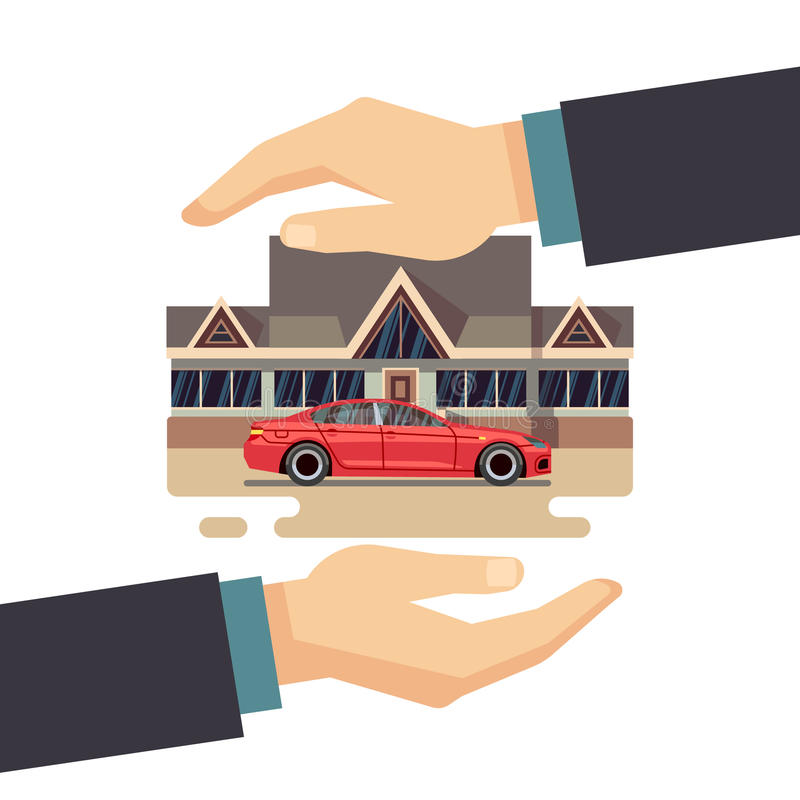 Insurance business vector concept. protect of property, house, car, money. royalty free illustration
