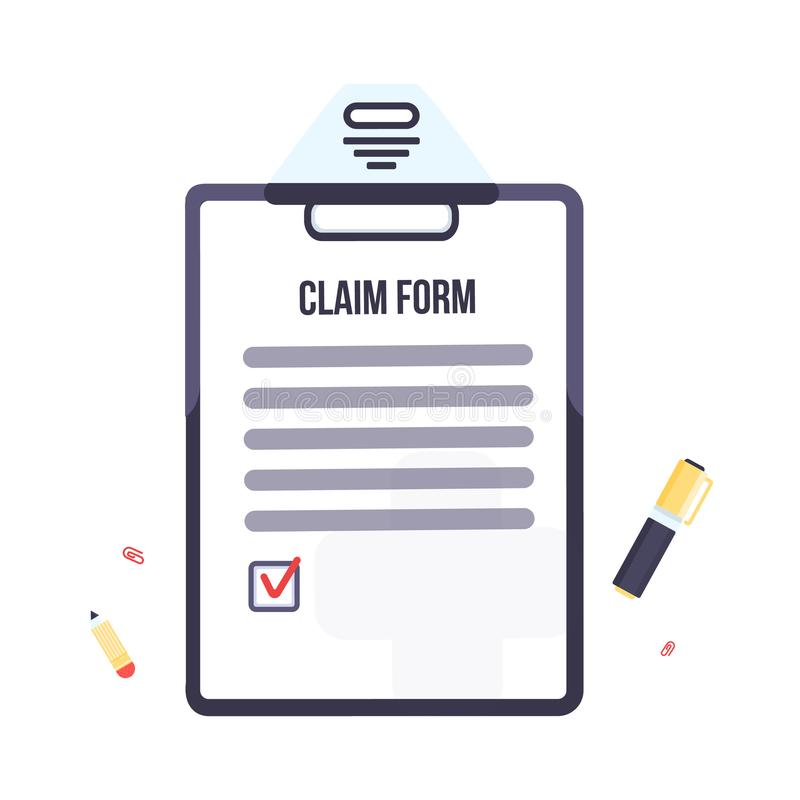 Insurance claim form with clipboard. Vector business illustration flat design. royalty free illustration