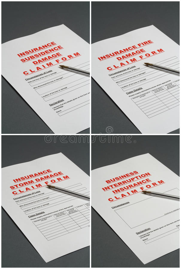 Insurance Claim Forms Stock Images