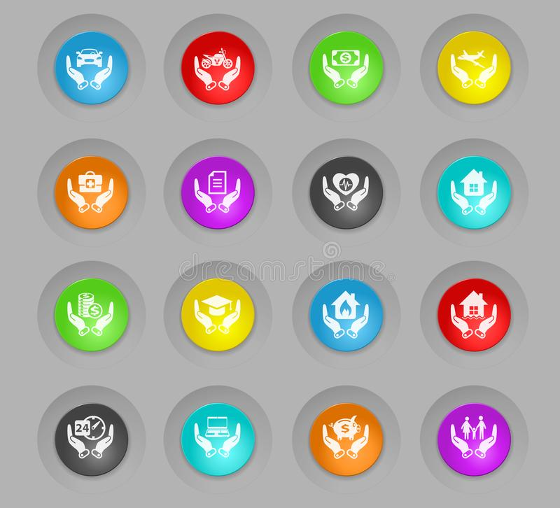 Insurance colored plastic round buttons icon set. Insurance colored plastic round buttons vector icons for web and user interface design stock illustration