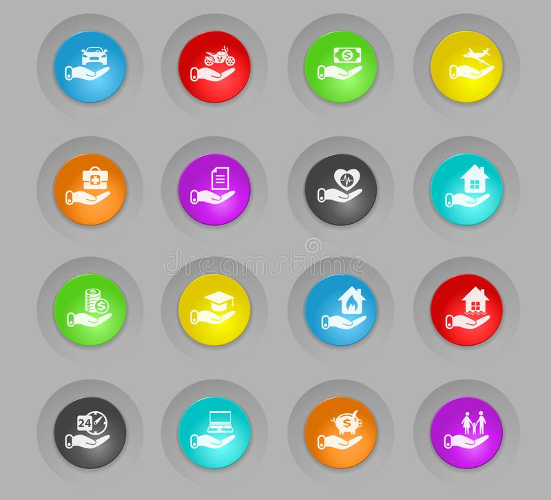 Insurance colored plastic round buttons icon set. Insurance colored plastic round buttons vector icons for web and user interface design royalty free illustration