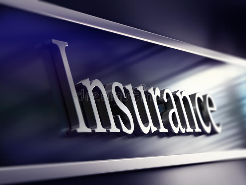 Insurance company plaque, 3d rendering stock illustration