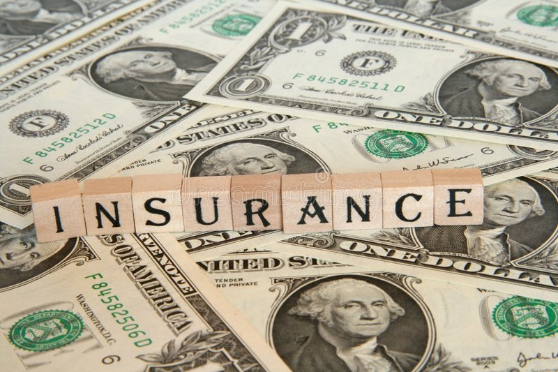 Insurance concept. Paying lots of money to get insured stock image