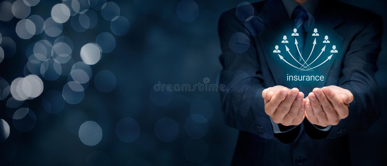Insurance concept. Insurance agent and insurance company customers. Wide banner composition with bokeh in background royalty free stock image