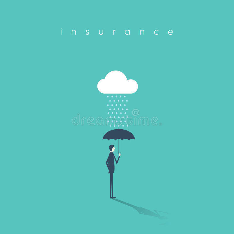 Insurance concept with businessman holding umbrella as protection. Risk investment or management abstract background. vector illustration