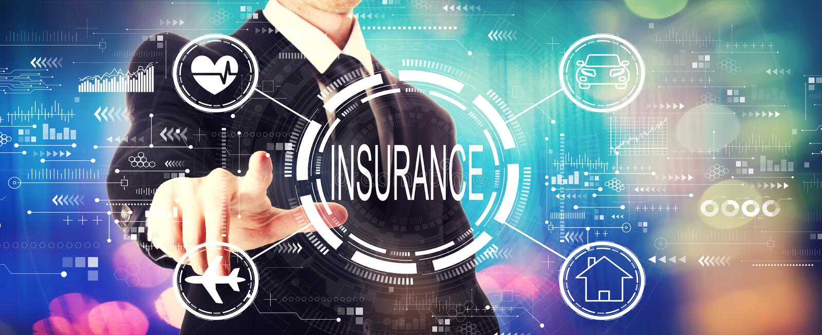 Insurance concept with a businessman stock photos