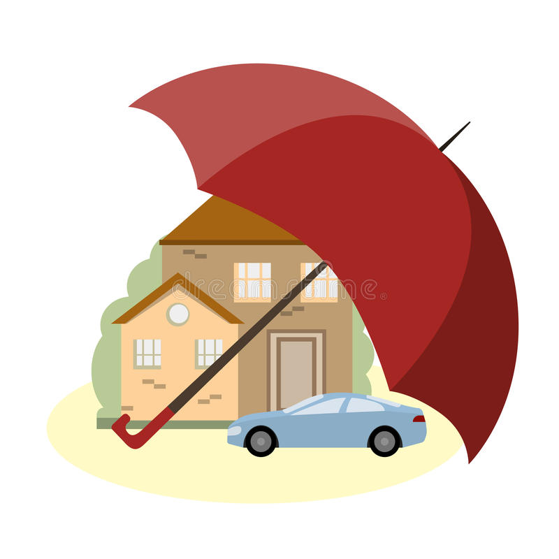 Insurance Concept with Car, House and Umbrella. A house and a car under the protection of the umbrella. The concept of insurance and security of property. Vector royalty free illustration