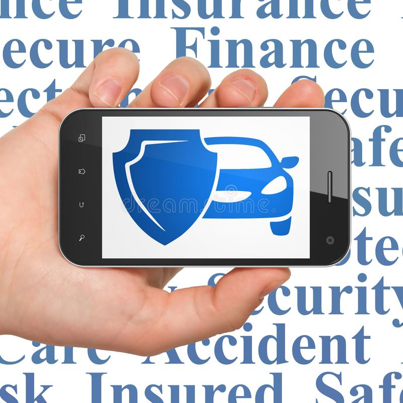Insurance concept: Hand Holding Smartphone with Car And Shield on display stock illustration