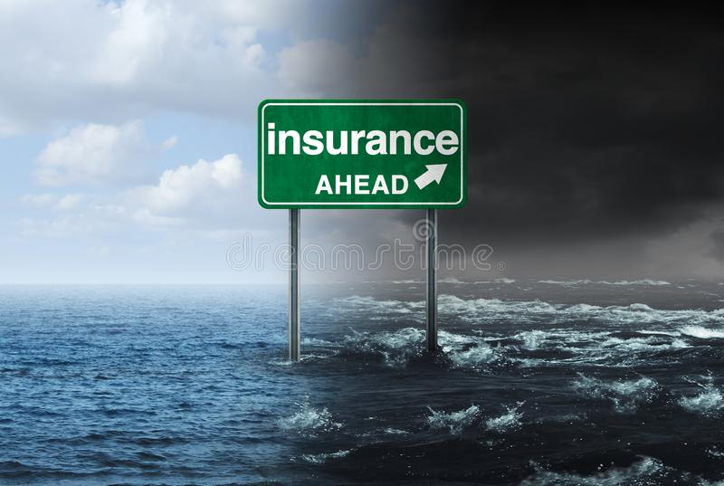 Insurance Concept. And hurricane or storm property damage financial risk idea and homeowners insured for natural disater loss with 3D illustration elements royalty free illustration