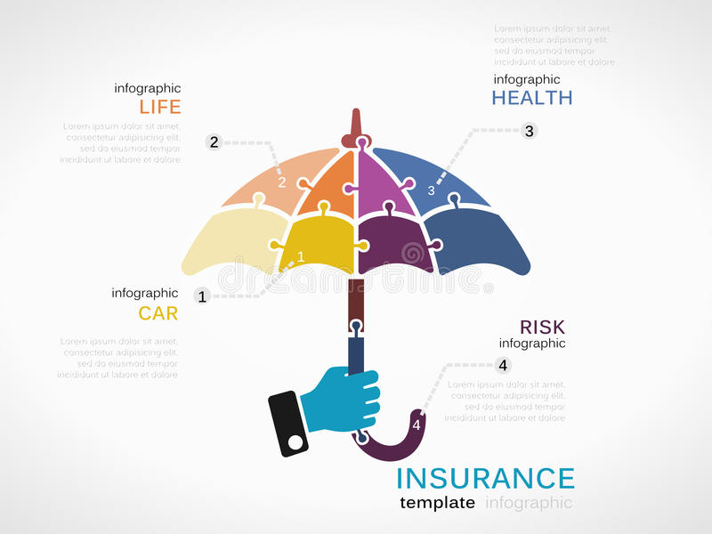 Insurance. Concept infographic template with umbrella made out of puzzle pieces