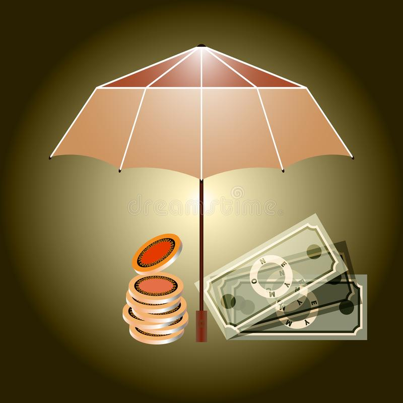 Insurance concept. An open umbrella protects money. Cash money under umbrella. An open umbrella protects money. Golden coins, money flat. Concept of money royalty free illustration