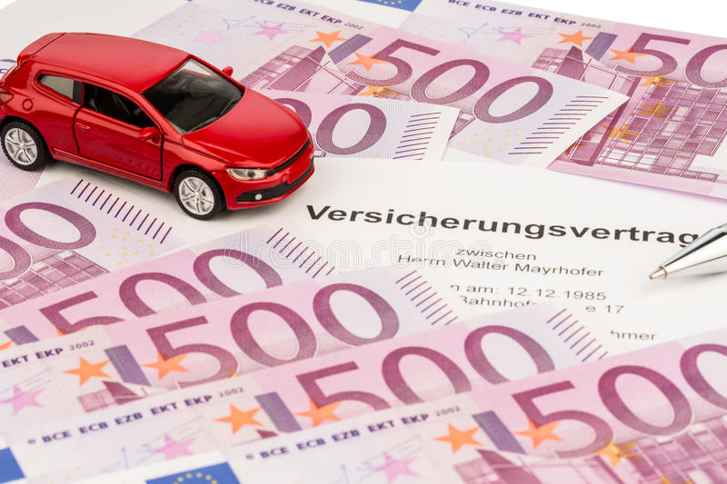 Insurance contract for a new car. The insurance contract for a new car. choice between hull and liability insurance stock image