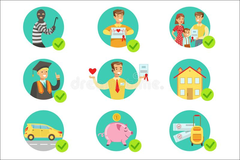 Insurance Contract Protecting Smiling People In Case Of Misfortune Insurance Company Services Infographic Illustrations. Set Of Vector Icons With Types Of stock illustration