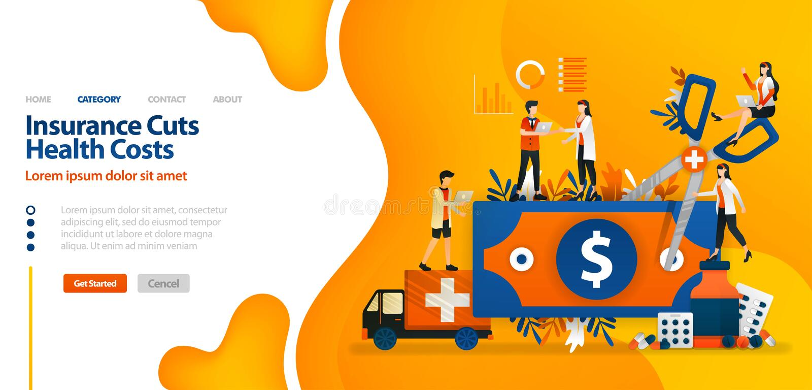 Insurance Cuts Health Costs. money cut with giant scissors .vector illustration concept can be use for landing page, template, ui. Ux, web, mobile app, poster stock illustration