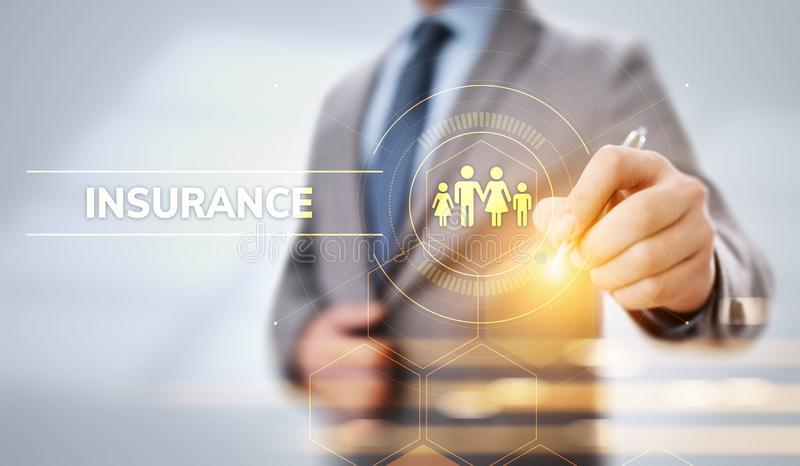 Insurance family property business travel money. Business pressing virtual button. royalty free stock photography